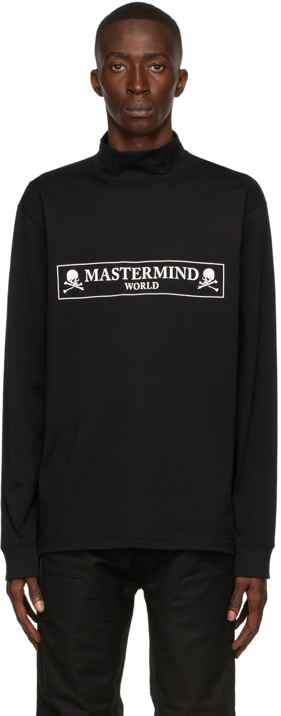 Black Hi Neck Boxed Logo Long Sleeve T-Shirt