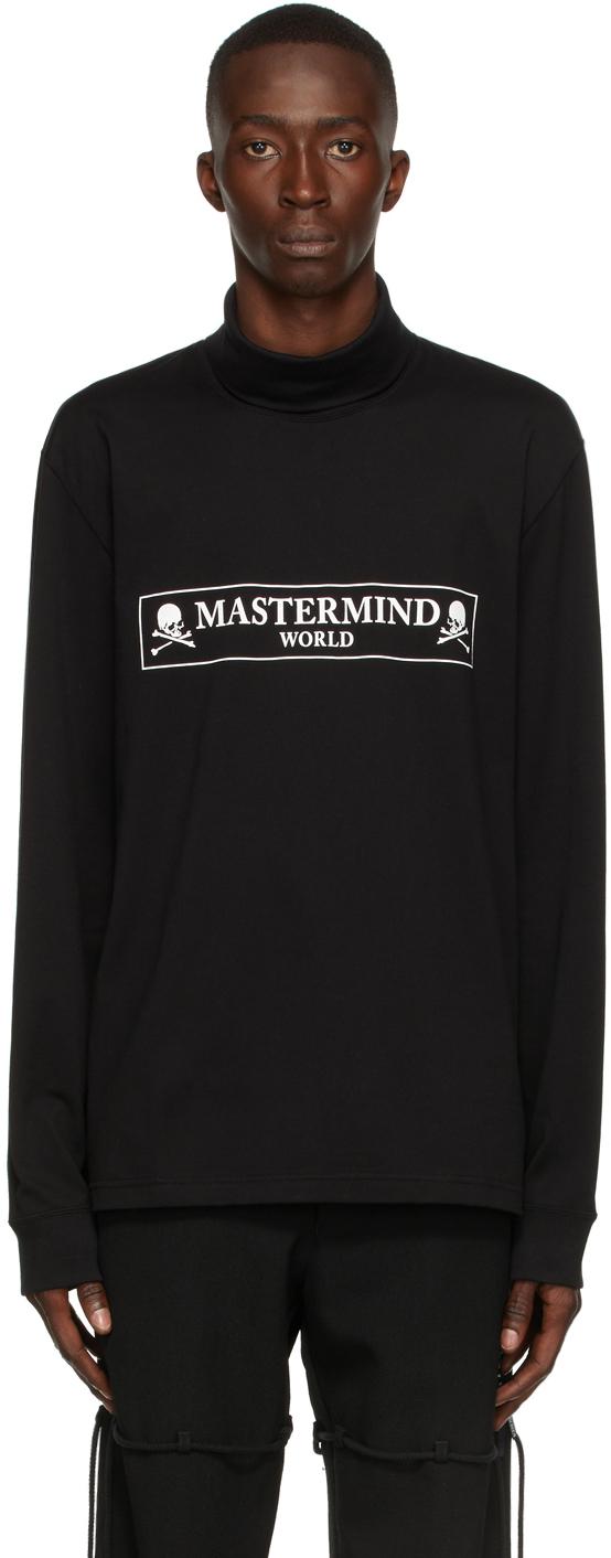Black Turtleneck Boxed Logo Long Sleeve T-Shirt