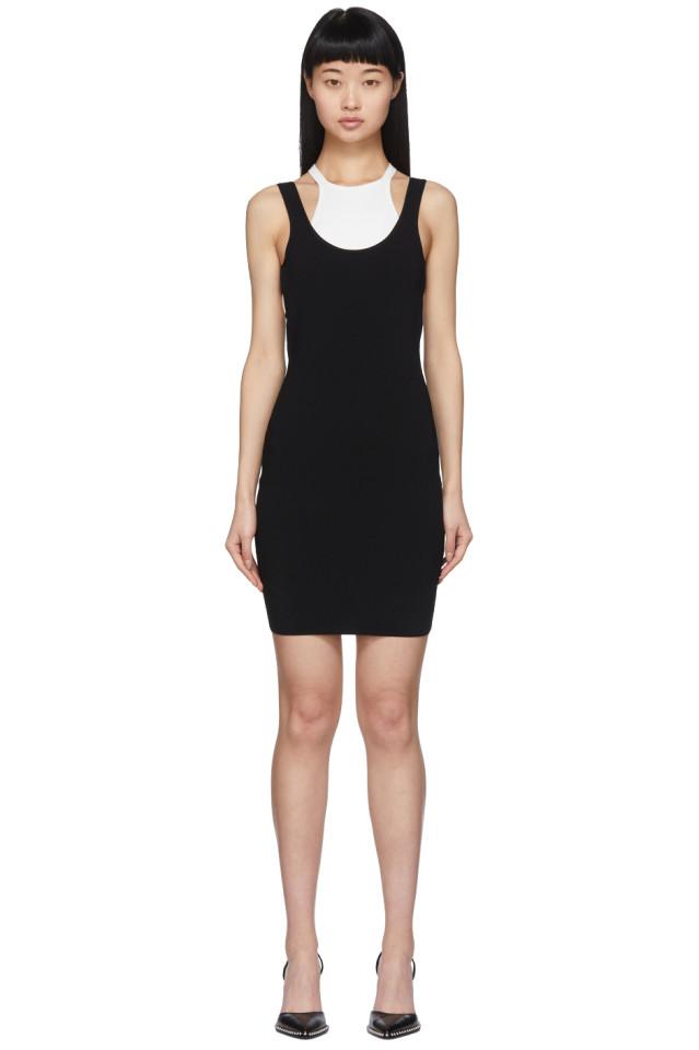 ALEXANDERWANG.T Black & White Bi-Layer Sleeveless Dress