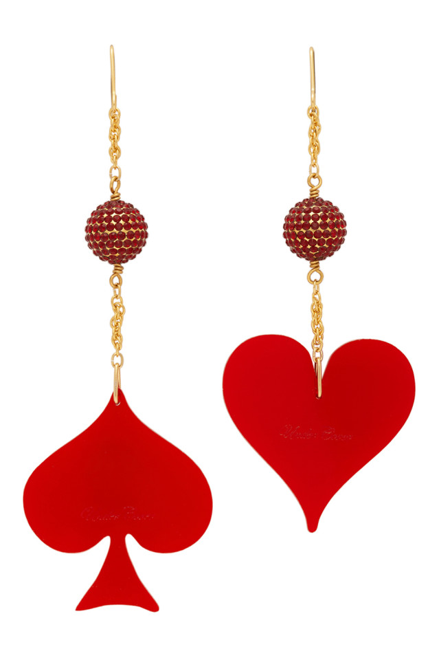 UNDERCOVER Red & Gold Spade & Heart Earrings
