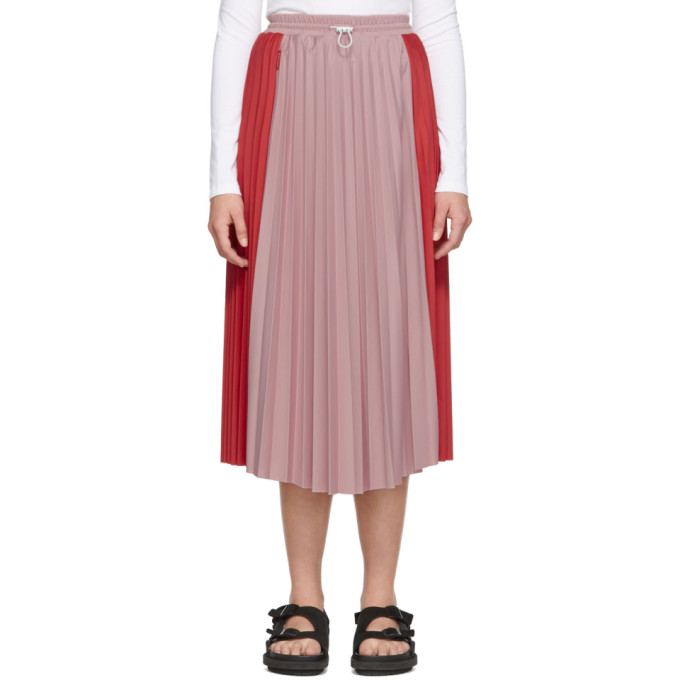 Red & Pink Bicolor Pleated Skirt by Moncler