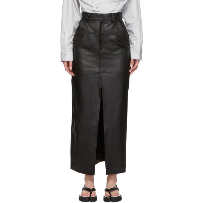 Black Leather Dropped Pocket Slit Skirt by Markoo