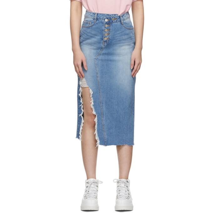 Blue Denim Destroyed Long Skirt by Sjyp