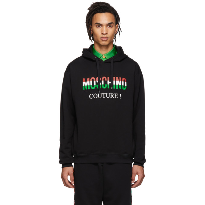 Black Italy Hoodie by Moschino