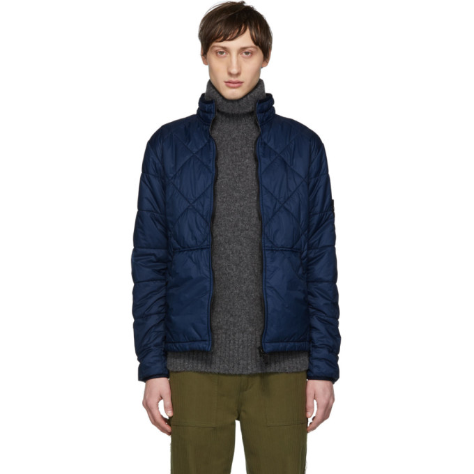 Blue Quilted Jacket by Stone Island