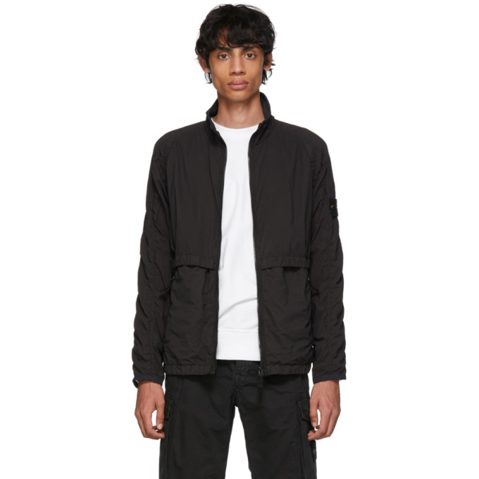 Black Lamy Velour Jacket by Stone Island