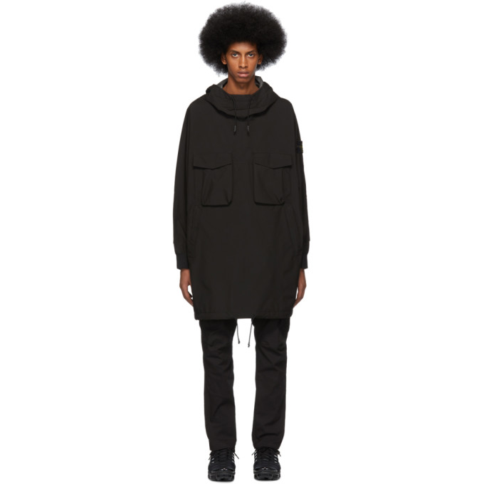 Black Pullover Coat by Stone Island
