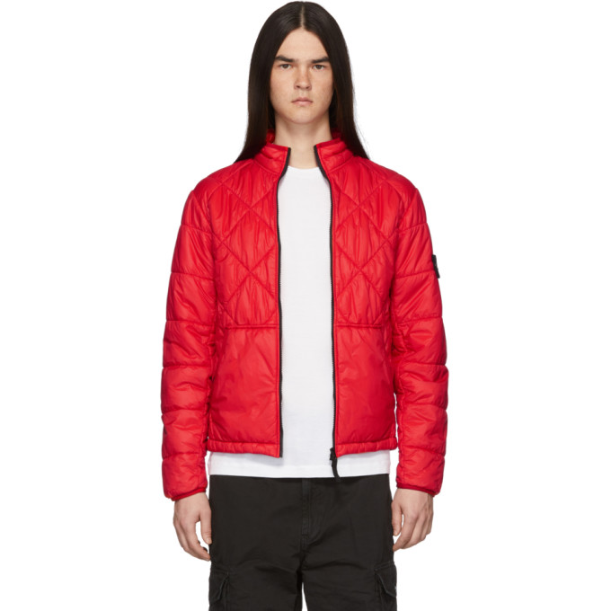 Red Quilted Jacket by Stone Island