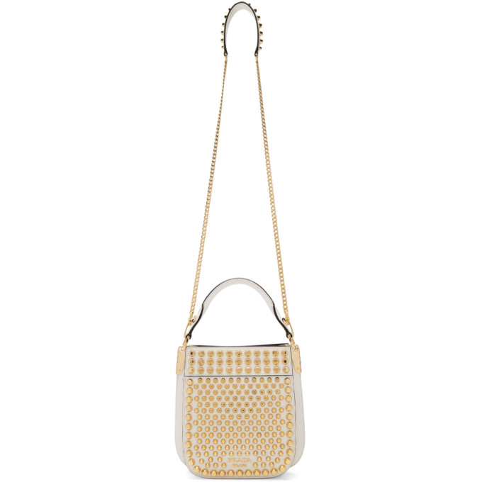 White Small Studded Margit Bag by Prada