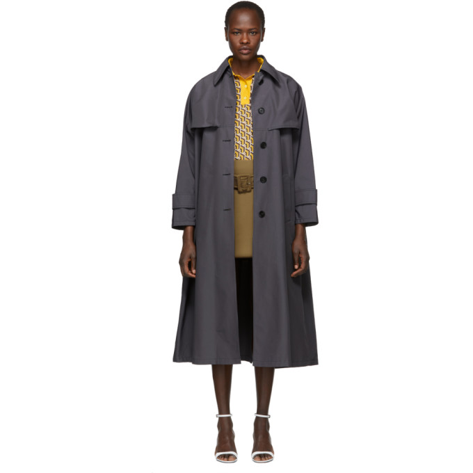 Grey Belted Trench Coat by Prada