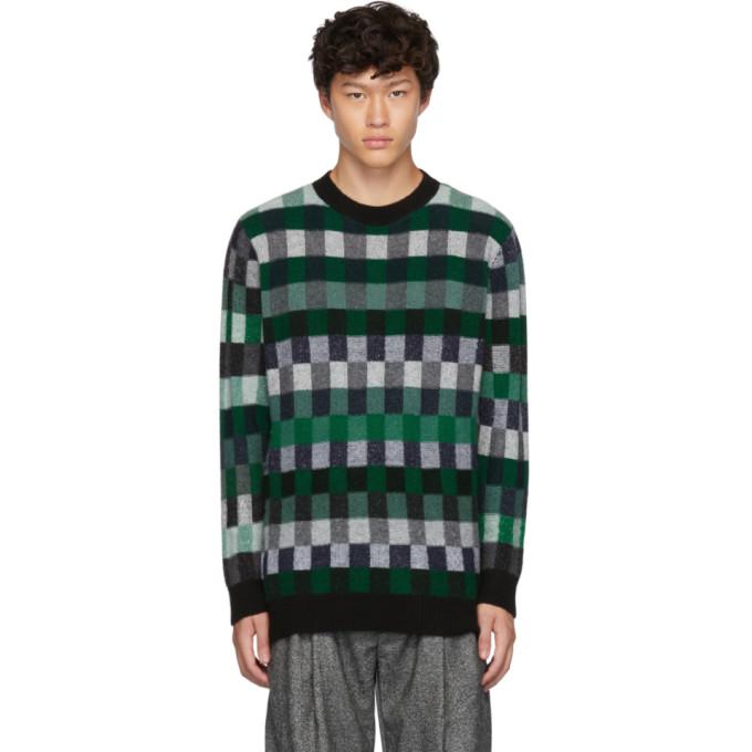 Green Plaid Gee's Crewneck Sweater by The Elder Statesman