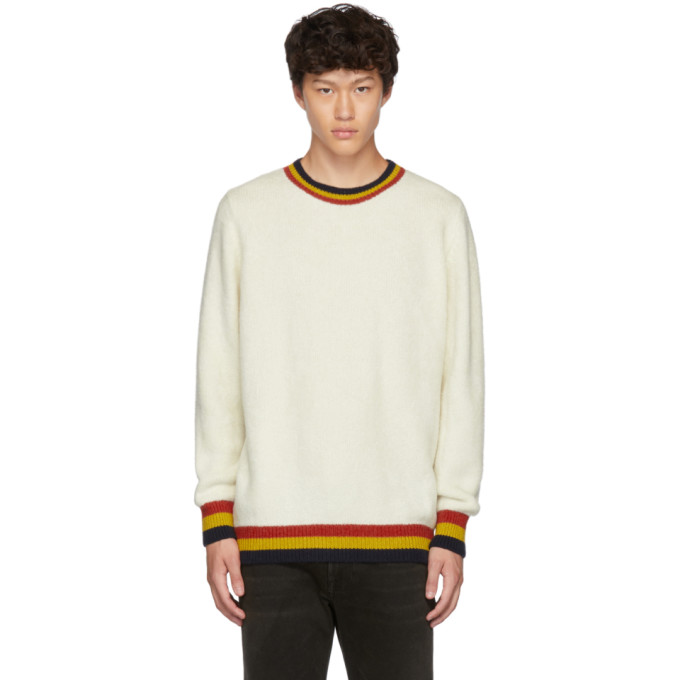 White Shag Three Stripe Crewneck Sweater by The Elder Statesman