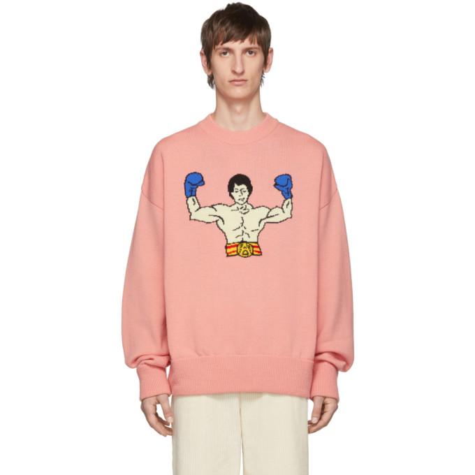 Pink Wool Scene Sweater by Ader Error