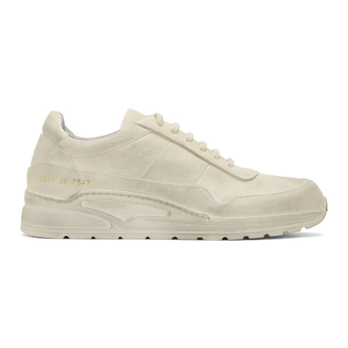 White Leather Cross Trainer Sneakers by Common Projects