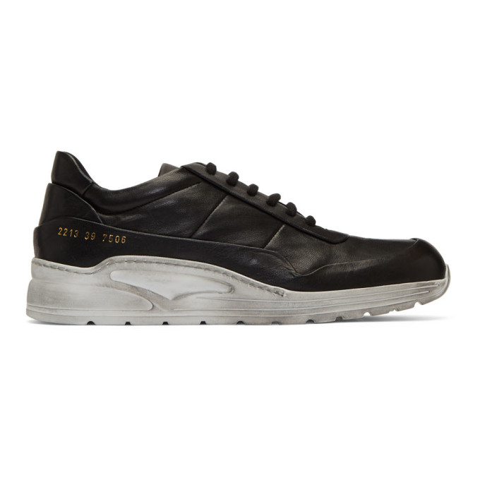 Black & White Leather Cross Trainer Sneakers by Common Projects
