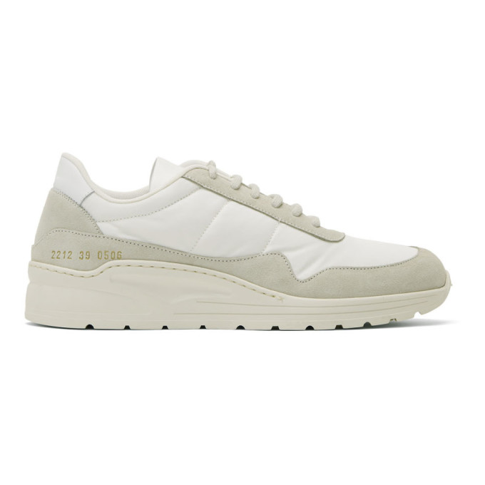 White Cross Trainer Sneakers by Common Projects