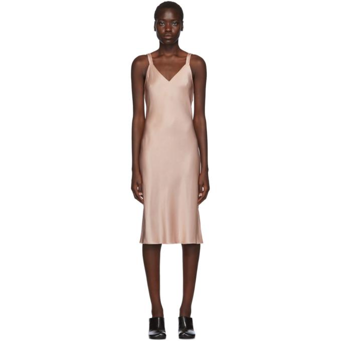 Pink Double Strap Satin Slip Dress by Helmut Lang