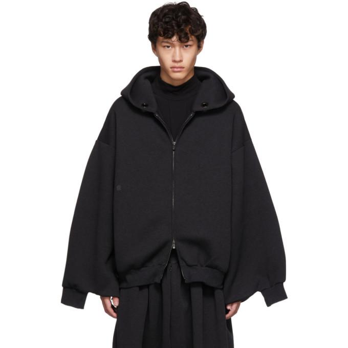 Black Kimono Zip Hoodie by Fumito Ganryu