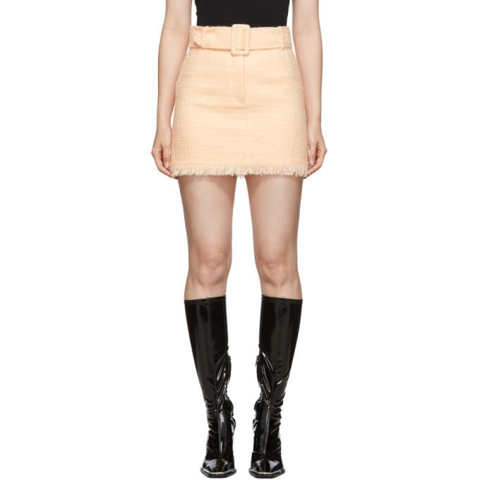 Pink Tweed Belted Miniskirt by Alexander Wang