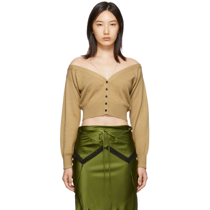 Tan Fitted Cropped Cardigan by Alexander Wang
