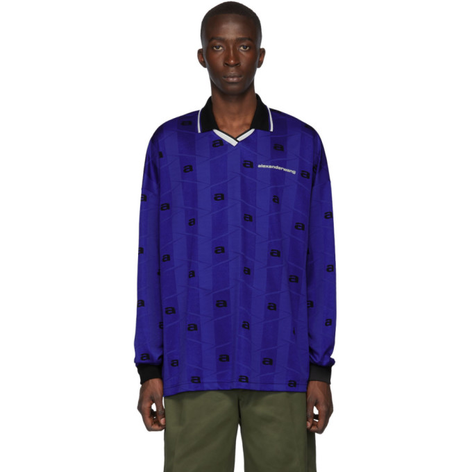 Blue Jacquard Oversized Athletic Long Sleeve Polo by Alexander Wang