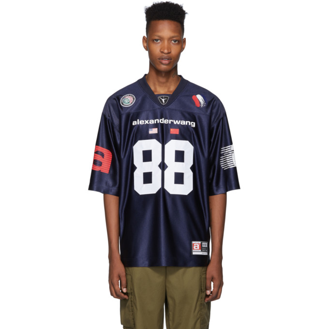 Navy High Shine Football Jersey by Alexander Wang