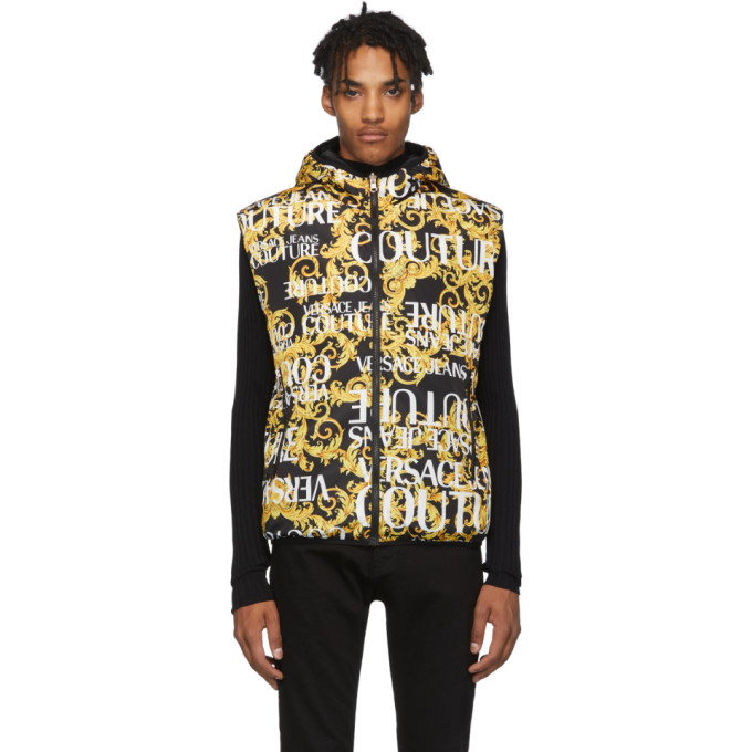 Reversible Gold & Black Baroque All Over Vest by Versace Jeans Couture