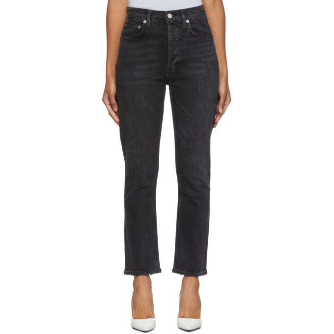 Black Riley Hi Rise Straight Crop Jeans by Agolde