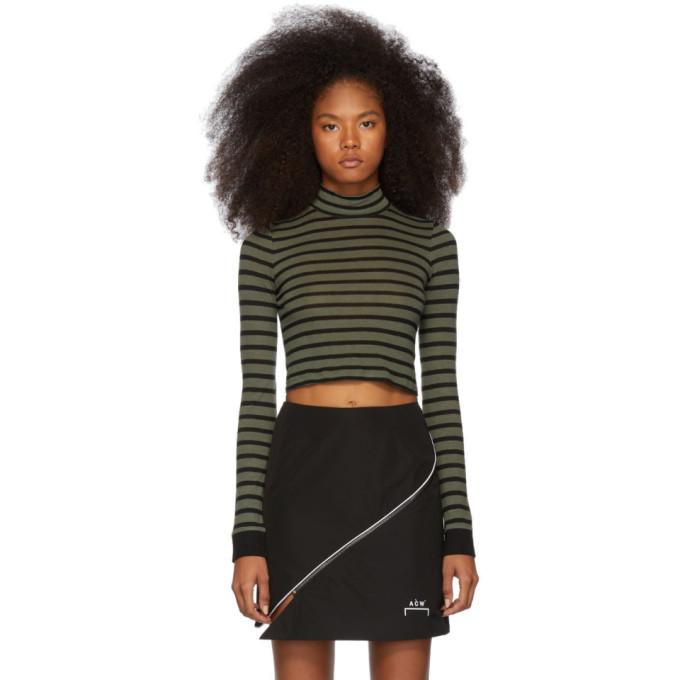 Khaki Striped Slub Mock Neck Sweater by Alexanderwang.T