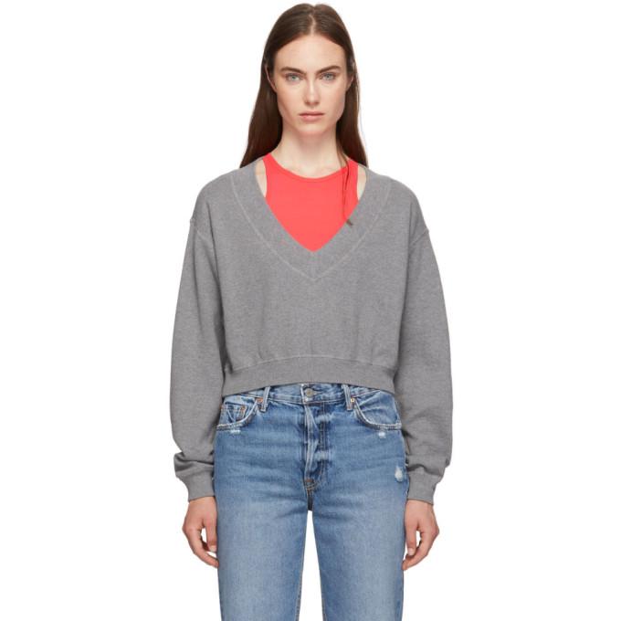 Grey & Pink Bi Layer Sweater by Alexanderwang.T