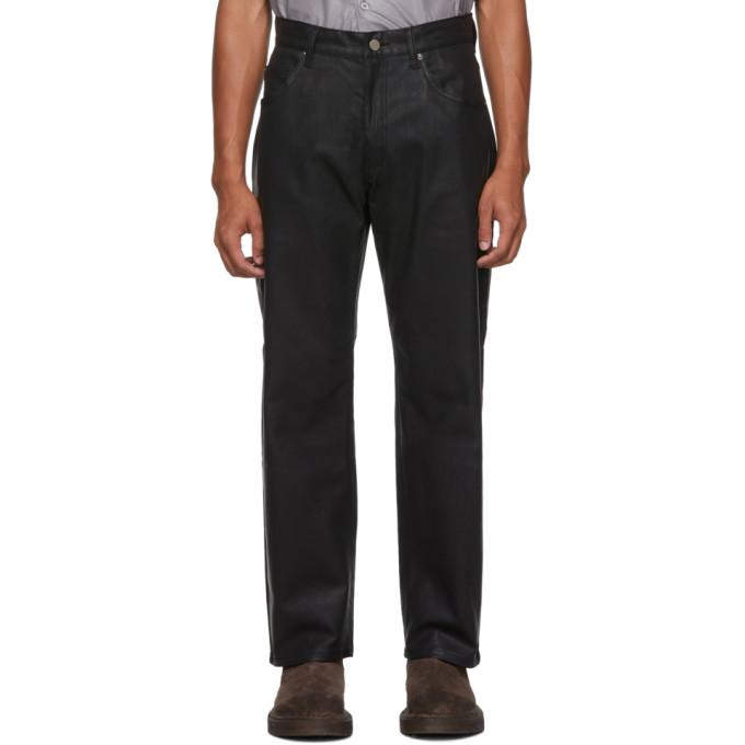 Black Coated Straight Jeans by Keenkee