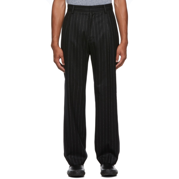 Black Pinstripe Wool Casual Trousers by Keenkee
