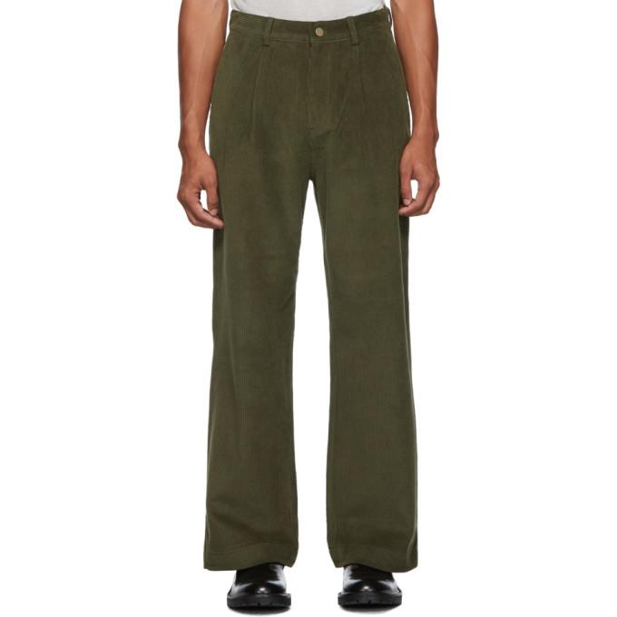 Green Corduroy Pleat Trousers by Keenkee