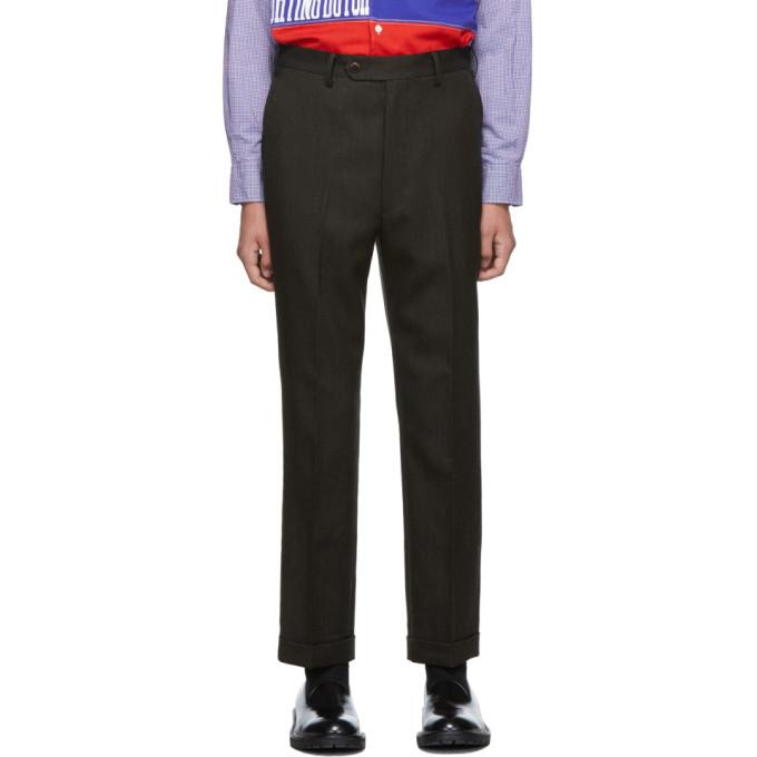 Dark Brown Wool Hopsack Trousers by Junya Watanabe