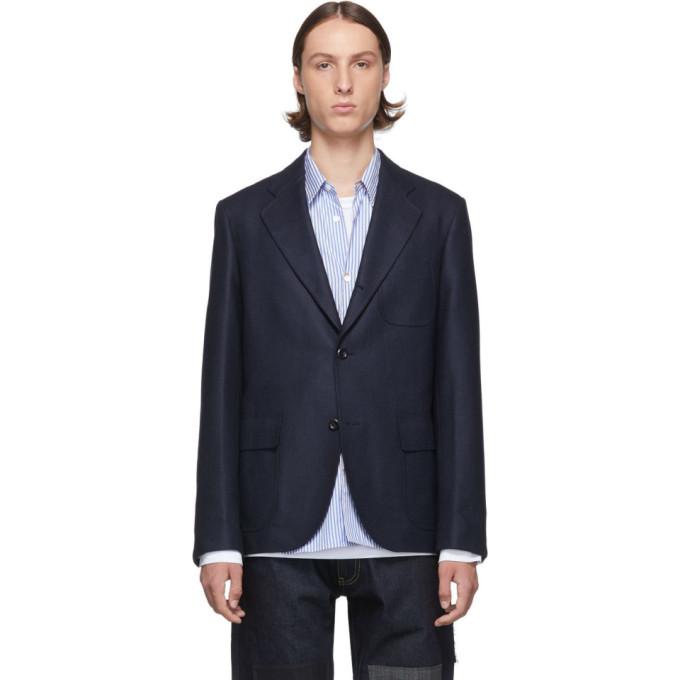 Navy Silk & Wool Blazer by Junya Watanabe