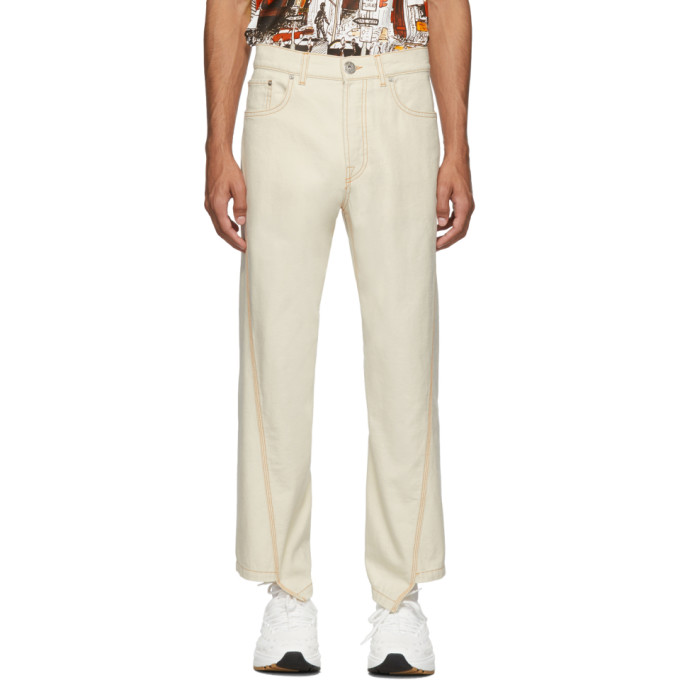 Off White Twisted Denim Jeans by Lanvin