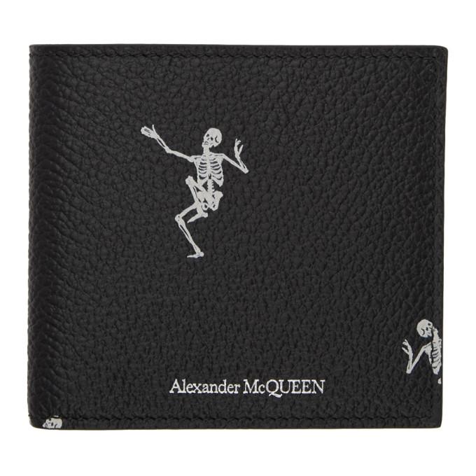 Black & Off White Dancing Skeleton Wallet by Alexander Mcqueen