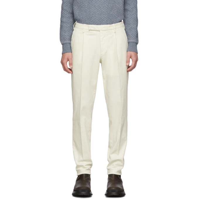 Off White Garment Dyed Trousers by Ermenegildo Zegna