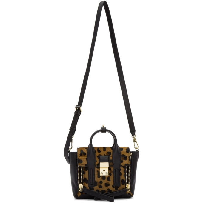 Black & Brown Leopard Mini Pashli Satchel by 3.1 Phillip Lim