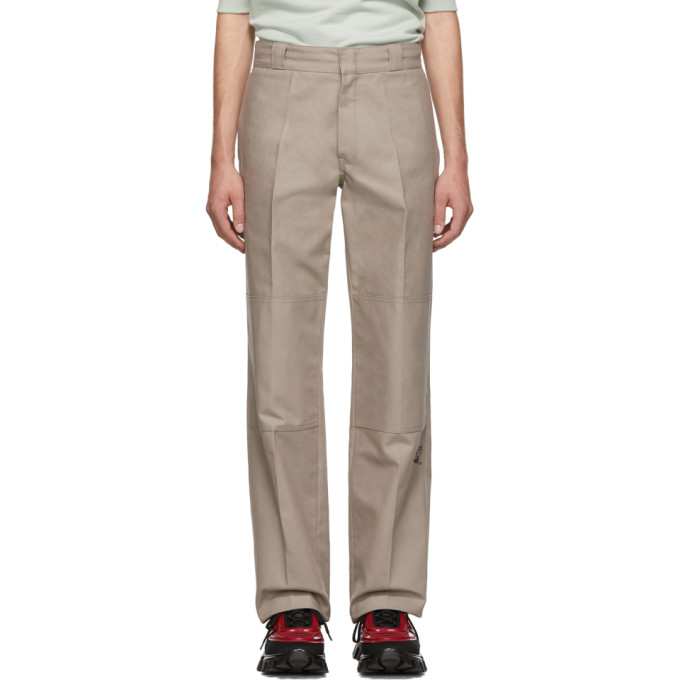 Taupe 'illusion' Straight Fit Trousers by Raf Simons