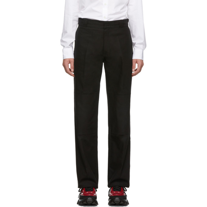 Black 'illusions' Straight Fit Trousers by Raf Simons