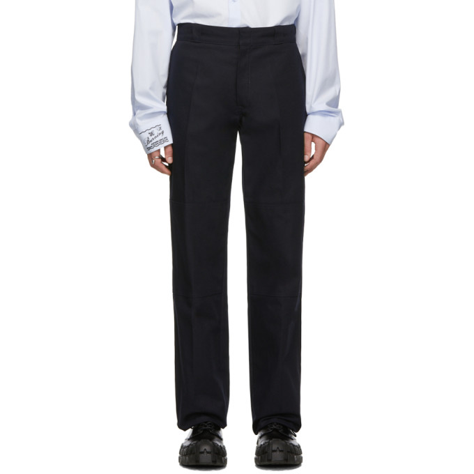 Navy 'illusions' Straight Fit Trousers by Raf Simons