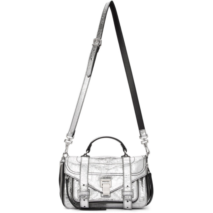 Silver Tiny Zip Ps1 Messenger Bag by Proenza Schouler