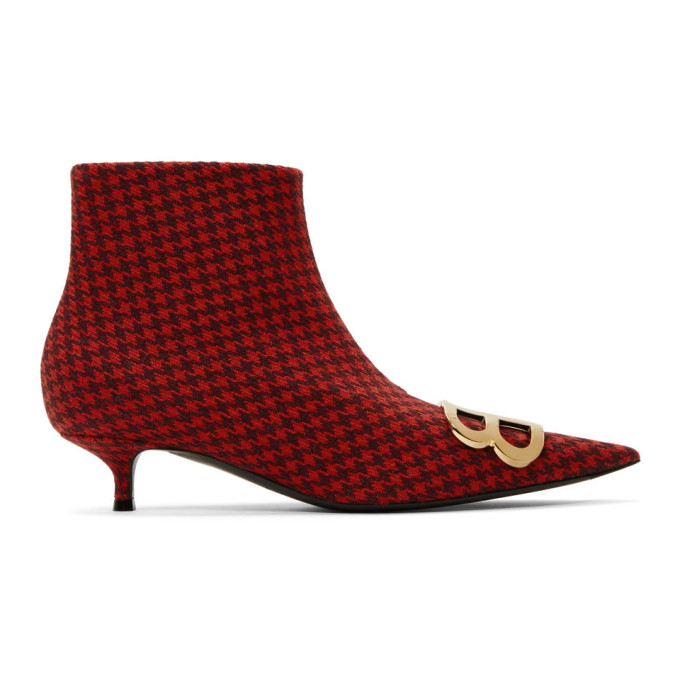 Red Houndstooth Bb Booties by Balenciaga