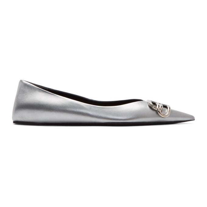 Silver Bb Ballerina Flats by Balenciaga