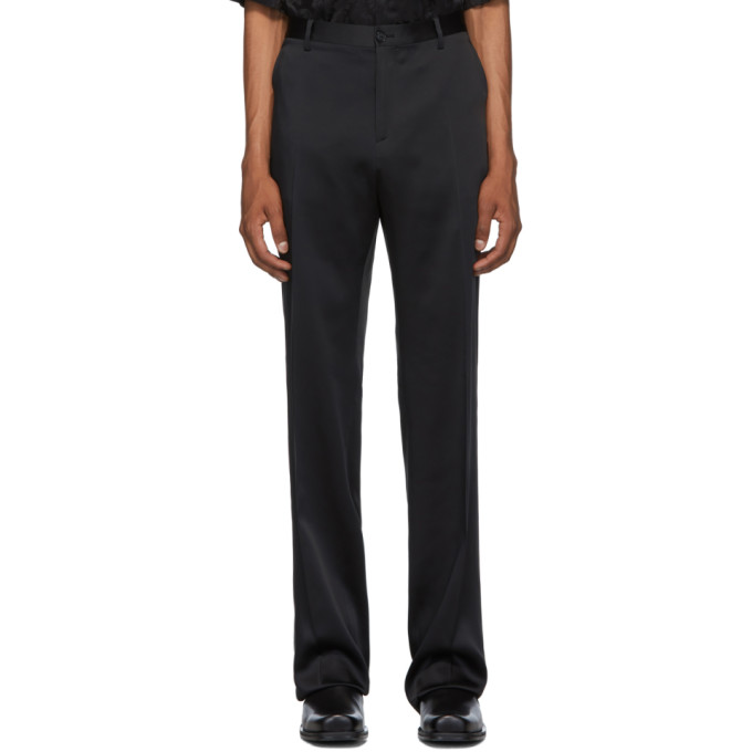 Black Satin Trousers by Versace