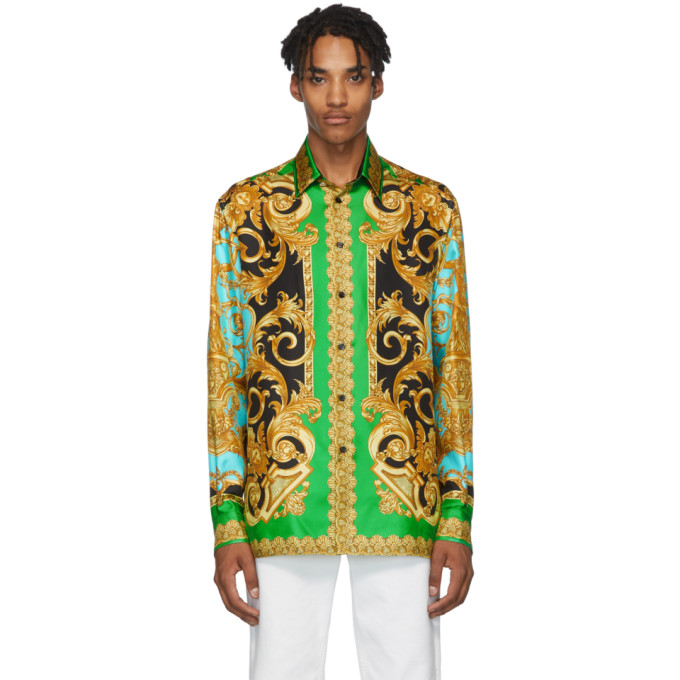 Green & Blue Silk Barocco Homme Shirt by Versace