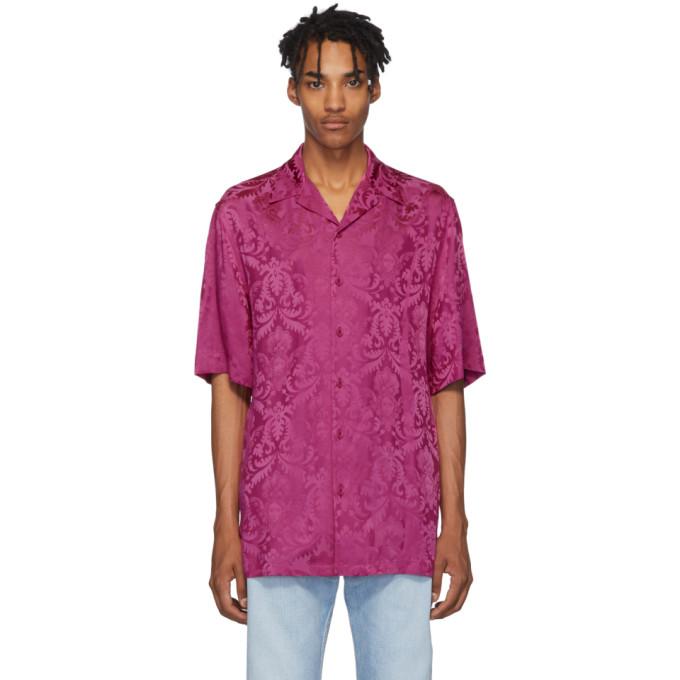Pink Damask Short Sleeve Shirt by Versace