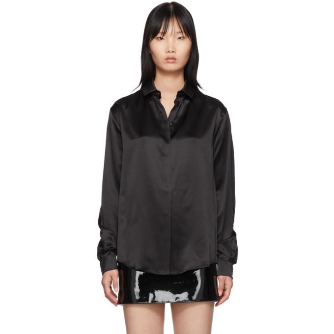 Black Silk Satin Shirt by Saint Laurent