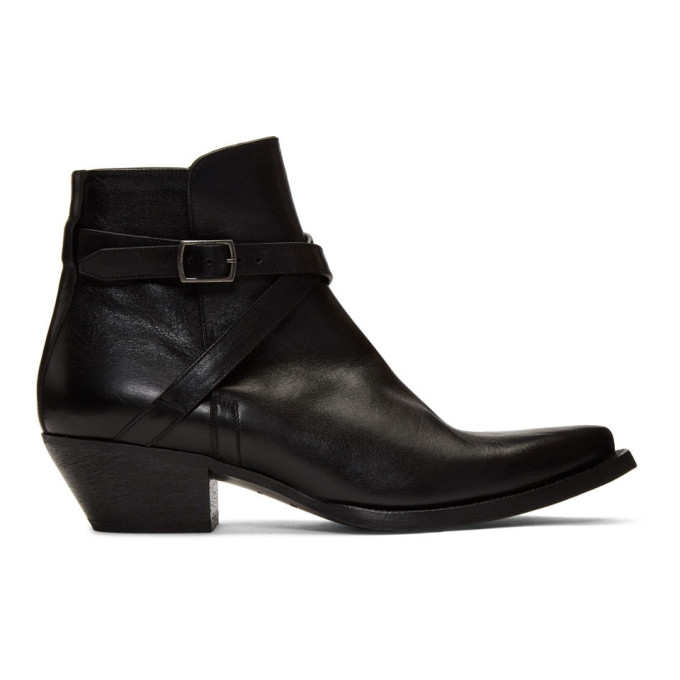Black Buckle Lukas Boots by Saint Laurent